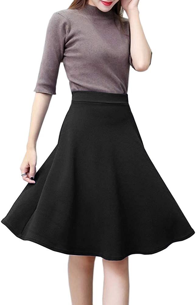 Afibi Womens Stretch Waist A-line Midi Skirt Skater Flared Cheap mail Max 80% OFF order specialty store