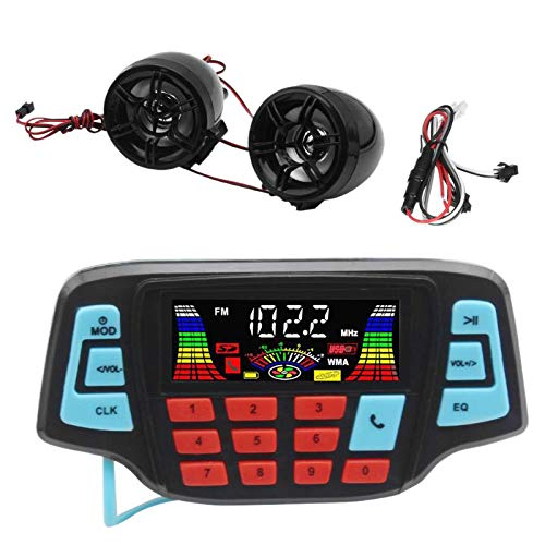 XZANTE Reproductor De Musica Mp3 De Motocicleta Altavoz EstéReo Bluetooth Manos Libres De Audio Sistema De Audio Impermeable De Radio FM