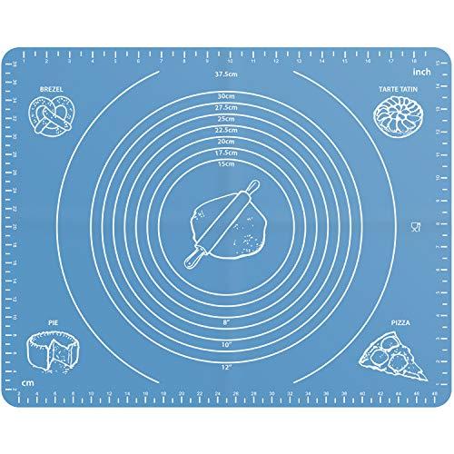 igadgitz Home 50x40cm Silikon Backmatte Antihaft Ausrollmatte Teigmatte mit Maßen perfekt für Macarons Fondant Teig Plätzchen Kuchen Brotbacken