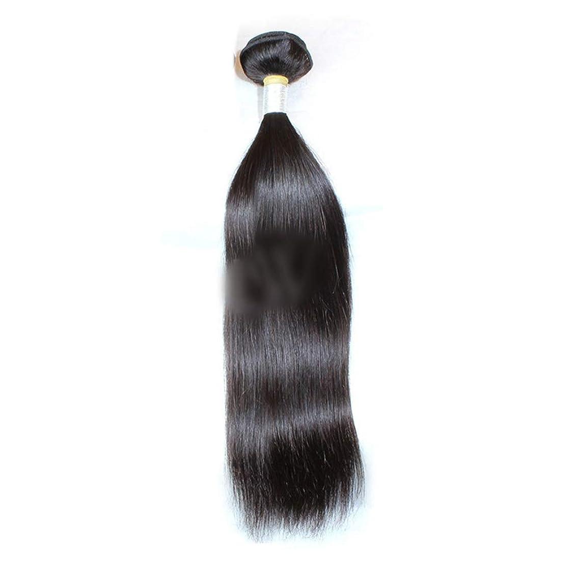 低下スタイルエスカレートHOHYLLYA ストレートヘアバンドル1バンドルペルーバージンヘアナチュラルカラーストレート人間の髪の毛ロールプレイングかつら女性の自然なかつら (色 : 黒, サイズ : 16 inch)