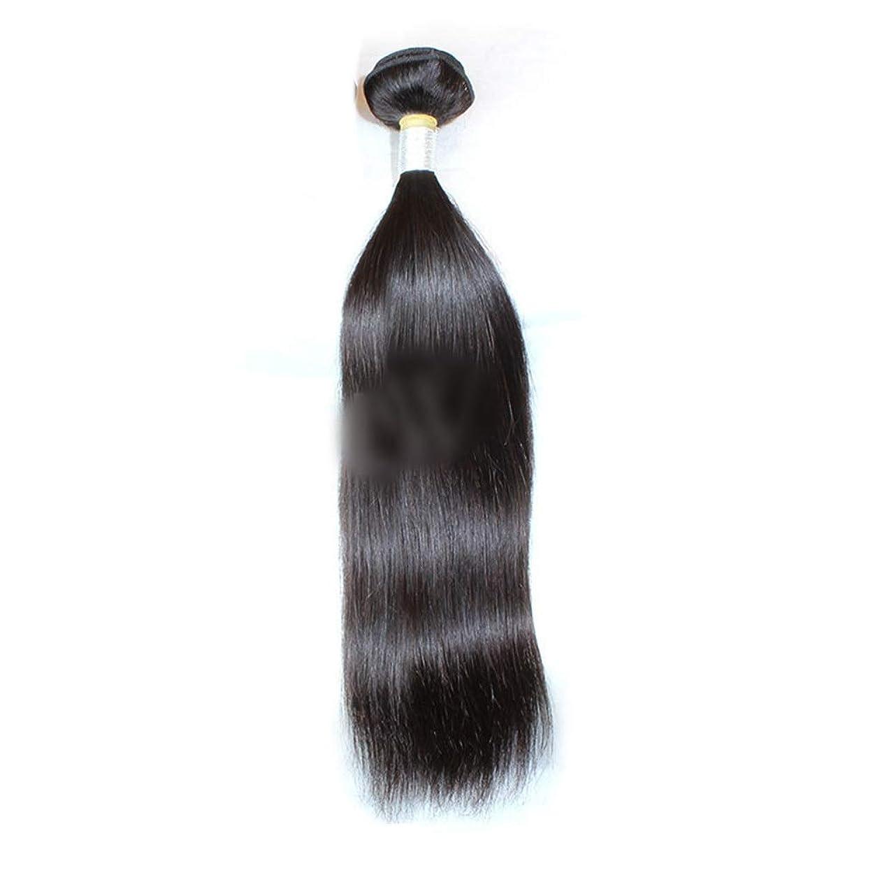 インフルエンザ活発しなければならないHOHYLLYA ストレートヘアバンドル1バンドルペルーバージンヘアナチュラルカラーストレート人間の髪の毛ロールプレイングかつら女性の自然なかつら (色 : 黒, サイズ : 16 inch)