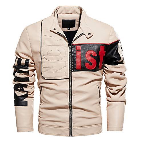 Veste de Moto pour Homme - Veste Cuir Homme Vintage Hommes Veste Simili-Cuir Blouson Moto Vestes Men Leather Jacket,Beige,XXXL