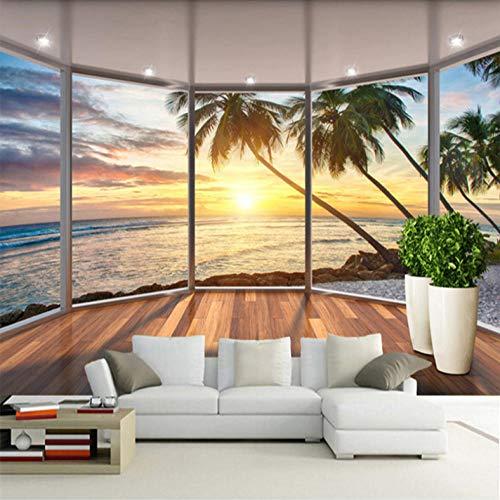 3D groot vlies muurschildering fotobehang wanddecoratie raam kustlandschap zonsopgang 400cm*280cm Lm005