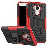 JINXIUCASE Zenfone ZC553KL Funda, Hyun Patrón de Doble Capa de Armadura híbrida Kickstand 2 en 1 Funda de la Caja de Choque para ASUS Zenfone 3 MAX ZC553KL (5,5 Pulgadas) (Color : Rojo)