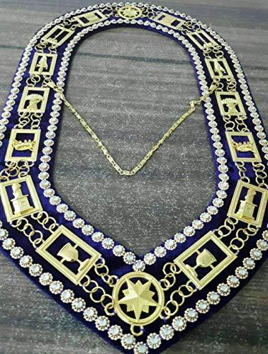 Regalia Craft Masonic OES Order of Eastern Star Chain Collar with Rhinestone Purple Golden