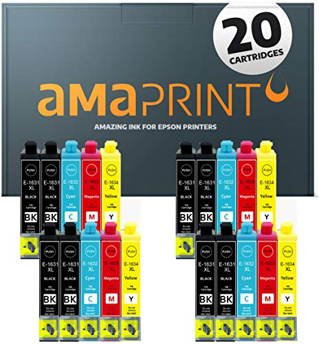 Amaprint 20 XL cartucce compatibile con Epson 16XL per WorkForce WF2010 WF2500 WF2510 WF2520 WF2530 WF2540 WF2630 WF2650 WF2660 WF2700 WF2750 WF2760