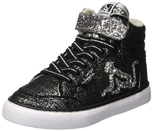 DrunknMunky Boston Trend, Sneaker a Collo Alto Bambina, Nero (Black Silver B53), 31 EU