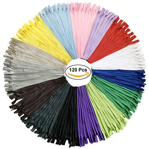 DOITEM 120pcs 20cm / 8 pulgadas cremallera de nylon multicolor invisible Cremalleras para costura y manualidades 15 colores