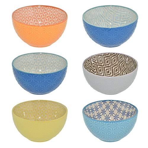 Creofant, set di 6 ciotole per cereali, ciotole colorate, ciotole per frutta, zuppa, insalatiera, gelato, ramenbowl, ciotola colorata, ciotola in ceramica, ciotola in ceramica