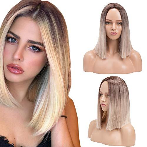 Ombre Blonde Kurze Bob Perücke Synthetische Seidige Gerade Perücken Hitzebeständige Faserperücke für Frauen Mädchen (Ombre Blond, 14 Zoll)