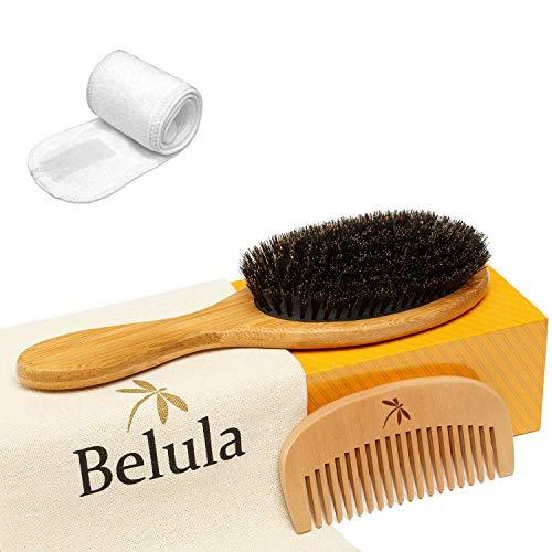 100% Boar Bristle Hair Brush Set. Soft Natural Bristles for Thin and Fine Hair
