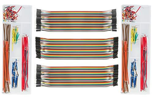 DEYUE 3 Set Standard Jumper Wires Plus 2 Set U Shape Bread Board Jumper Cable Kit w Box   M/F, M/M, F/F - Each 40pin Electronic Jumpers Wire   140 Pcs of Assorted Breadboard Jumper Cable Wire Kit