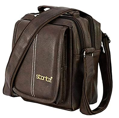 Storite Stylish PU Leather Sling Cross Body Travel Office Business Messenger One Side Shoulder Bag for Men Women(Brown, 20.5x9x16.5cm)