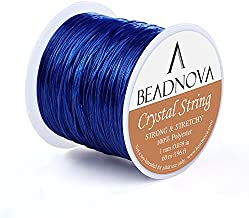 BEADNOVA 1mm Elastic Stretch Polyester Crystal String Cord for Jewelry Making Bracelet Beading Thread 60m/roll (Blue)