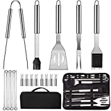 LUOWAN Utensili Barbecue, 20 Pezz Set Barbecue Accessori Portatile Utensili per Barbecue in Acciaio Inossidabile con Sacchetti di Stoffa Oxford Sii applicabile Weber Barbecue, Regali da Uomo