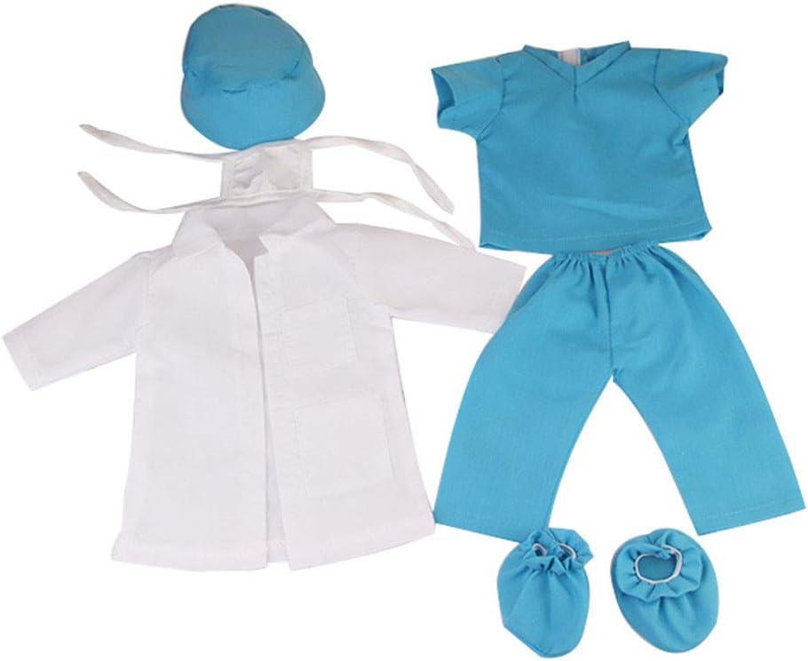 Zeagro Conjunto de 6 piezas de disfraz de m/édico de enfermer/ía para mu/ñecas americanas de 45,72 cm BJD SD