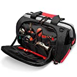 Pnochoo Waterproof Tool Bags for Men or Women, 16-inch Wide Mouth Tool Tote Bag with 25 Pockets for Tool Organizer & Storage, with Adjustable Shoulder Strap (16IN, Black/Red)