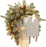 National Tree Company 'Feel Real' Pre-lit Artificial Christmas Mail Box Swag | battery-operated White LED Lights | Frosted Artic Spruce - 36 Inch
