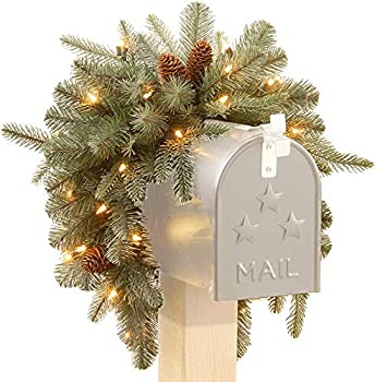 National Tree Company  Feel Real  Pre-lit Artificial Christmas Mail Box Swag | battery-operated White LED Lights | Frosted Artic Spruce - 36 Inch