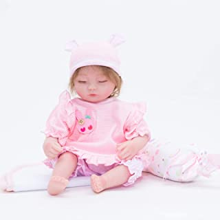 JTYX DOLLS 22 inches Simulation Baby Cloth Body Soft Silicone Reborn Doll Eyes Closed Short Yellow Hair Cute Girl Realistic Doll Children Birthday Gift Toys (Not Washable),Color1,55cm