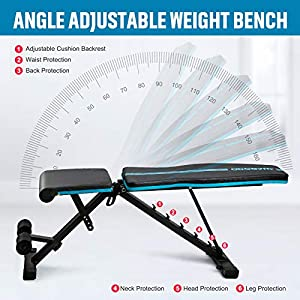ODOGYM Adjustable Weight Bench for Full Body Workout Indoor Foldable Multifunctional Fitness Equipment Adjustable Flat/Incline/Decline Fitness Bench For Home Gym