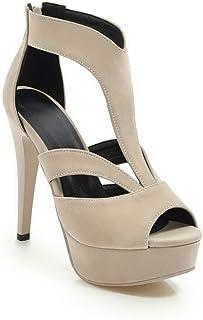 BalaMasa Womens ASL06391 Pu Platform Heels