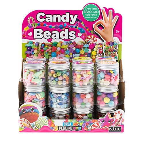 Nice Group Candy Beads 87004 - Lote de 24 tarros para hacer pulseras con letras, estrellas, caramelos, corazones, flores, ositos para niños y niñas
