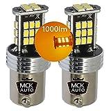 MCK Auto - Reemplazo para P21W BA15s 1156 LED CanBus Conjunto de bombillas naranjas muy claras y sin errores compatibles con A1 A3