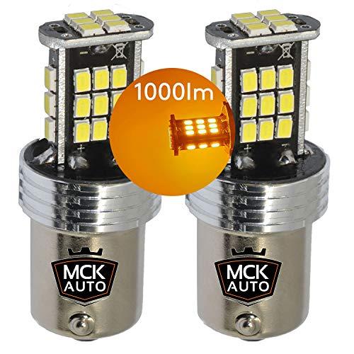 MCK Auto - Remplacement pour Ensemble d'ampoules orange P21W LED CanBus très clair et sans erreur compatible avec A1 A3 F30