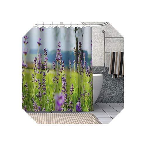 Cool-House Duschvorhang Pink  Lila Lavendel Blumen Duschvorhänge DIY Bad Vorhang Stoff Waschbares Polyester Für Badewanne Art Decor-9-90x180cm