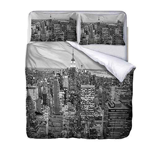 zzqxx Home Superking Duvet Cover Set city building Bed Set Quilt Cover with Zipper Soft 100% Polyester Includes 2 Pillow Cases 3D Printed Bedding for Boys Girls Adults 260x220cm