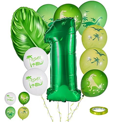 FORMIZON Cumpleaños Globos 1, 10 Piezas Globos de Cumpleaños Dinosaurios, Fiestas de Dinosaurios Globos, Globo Numero, Verde Globos Dinosaurios 1 Año Cumpleãnos Fiesta Party Decoración (Número 1)
