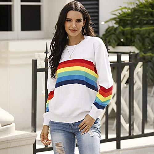 Avsvcb Suéter de Comercio Exterior Europeo y Americano Mujer otoño/Invierno Estudiante Camisa de Fondo suéter de Rayas arcoíris