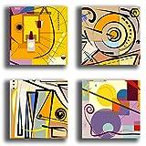 Quadri Moderni KANDINSKY giallo viola 4 pezzi Stampa Tela CANVAS Arredamento Arte Astratto XXL Arredo per soggiorno salotto camera da letto cucina ufficio bar ristorante (4 pezzi 40x40 cm cad.)