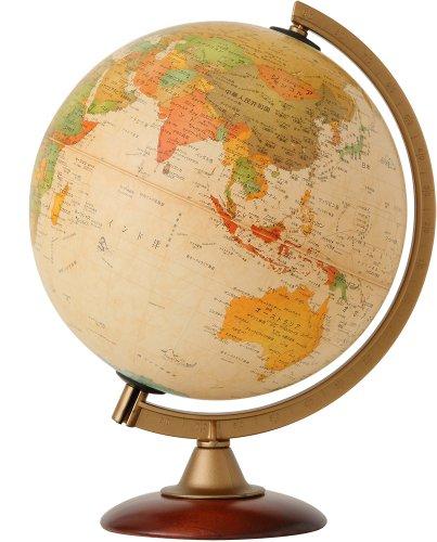 地球儀 |球径25cmセピア地図(日本語版)/木製台座タイプ
