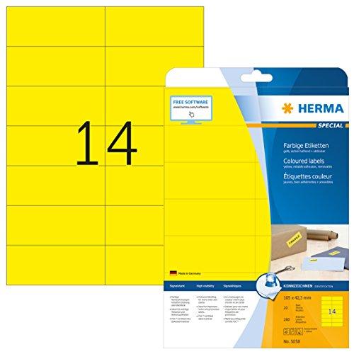 HERMA 5058 Farbige Etiketten DIN A4 ablösbar (105 x 42,3 mm, 20 Blatt, Papier, matt) selbstklebend, bedruckbar, abziehbare und wieder haftende Farbetiketten, 280 Klebeetiketten, gelb