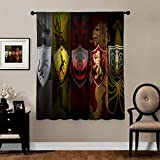MVNTOO A Game of Throne RPG Children's Room Curtain for Bedroom W63 xH63