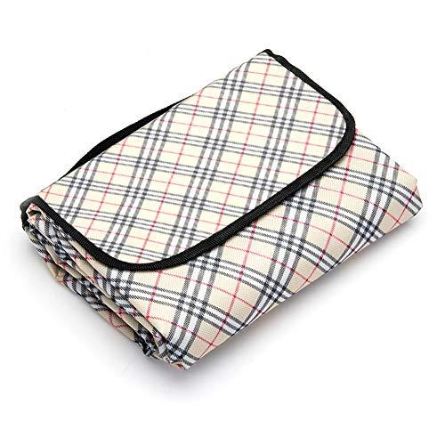 LIVEHITOP Picknickdecke 200 x 200 cm XXL Groß, Wasserdicht Tragbar Strand Matte für Sommer Outdoor Camping Picknicks BBQ Familie, 79''x79'' (Beige Kariert)