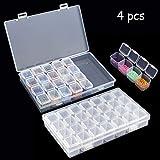 Tomkity 4pcs Boîte de Rangement Boîte Perles pour Broderie Diamant Clair avec 28 Compartiments Amovibles...