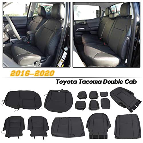 ECOTRIC Seat Covers Synthetic Leather Compatible with 2016-2020 Toyota Tacoma Double Cab
