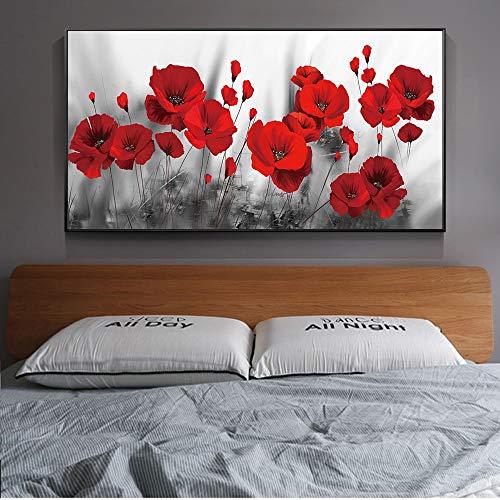 ganlanshu Las Amapolas en la Pared Publican un Lienzo en el póster y Flores Rojas en el Mural de la habitación,Pintura sin Marco,60x120cm