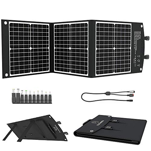 ELECAENTA ソーラーパネル 60W ETFEソーラーチャージャー 折りたたみ式 Type-C PD18W/QC3.0急速充電 直列/並列でき 3M超長DCケーブル 単結晶 ポータブル電源/スマホ/モバイルバッテリー用ソーラー充電器 アウトドア 防災 12ヶ月保証
