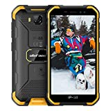 Ulefone X6 (2020) Smartphone Pas Cher Incassable, Android 9.0 Quad-Core, Écran 5.0 Pouces HD+, 16Go + 2Go, 4000mAh, Double SIM Nano Face ID Telephone Portable Pas Cher Debloqué Mode Gant(Jaune)
