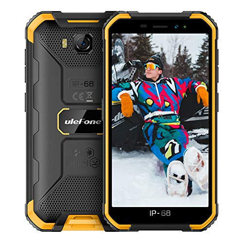 Ulefone X6 (2021) Smartphone Pas Cher Incassable, Android 9.0 Quad-Core, Écran 5.0 Pouces HD+, 16Go + 2Go, 4000mAh, Double SIM Nano Face ID Telephone Portable Pas Cher Debloqué Mode Gant(Jaune)