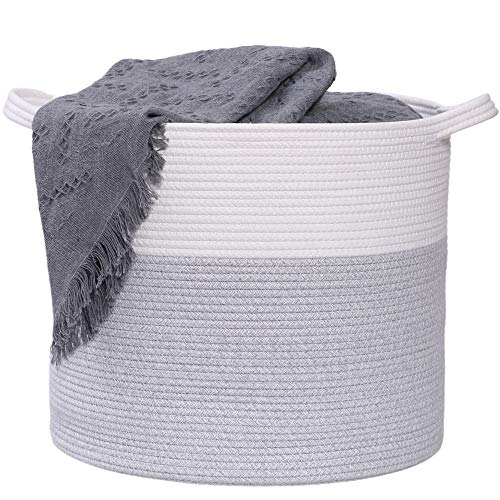 Woven Blanket Storage Basket for Living Room Home Decorations - Cotton Rope Laundry Baskets Bins - Kids Toy Storage Organizer for Baby Playroom Toys - Extra Large XL 18'Dx 16'H