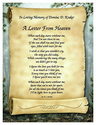 'A Letter From Heaven' Personalized Bereavement/Memorial Poetry Gift on Scroll Background OPTIONAL Forest Green and Frosted Gold Dual Matte Border