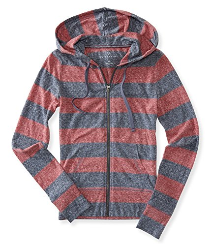Aeropostale Womens Striped Hoodie Sweatshirt, red, X-Small