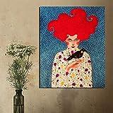 YuanMinglu Cartel de Arte de Pared nórdico Lienzo Pintura al óleo Cartel Sala de Estar decoración del hogar Pared Moderna Pintura sin Marco 30x37 cm
