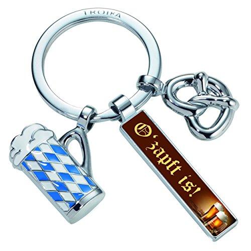 Troika Schlüsselanhänger mit 3 Anhängern, Brezel, Bierkrug, Rechteck O zapft is, Metallguss/Emaille, verchromt, glänzend, Mehrfarbig