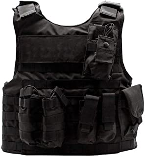 Tactical Vest Airsoft Chest Padded Clothes Elastic Aramid Protection Board 600D Oxford Cloth Third-Level Protection Level for Outdoor Modular Combat Training Adults Men Special Forces